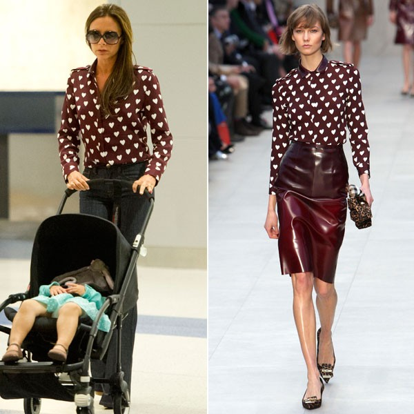 Victoria Beckham Style Outfits Burberry Prorsum Heart Print Silk Crepe Shirt Look For Less 2