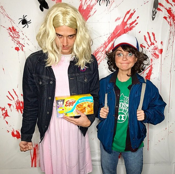Wells Adam and Sarah Hyland as Eleven and Dustin in Stranger Things (Photo Sarah Hyland Instagram)