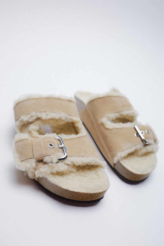 Zara Fleece Sandals $59.90