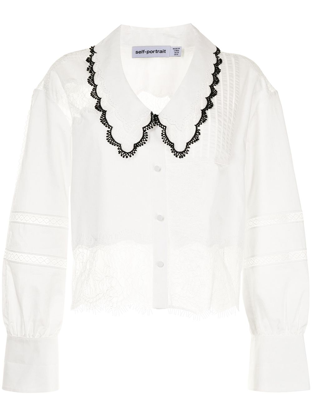 Self-Portrait Lace-panel Pointed-collar Shirt $346.00