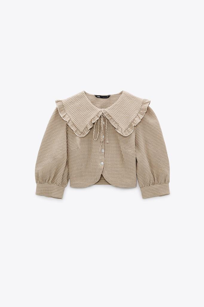 Zara Check Textured Top $39.90