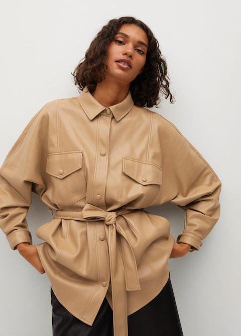 Mango Leather-effect Jacket with Belt $99.99