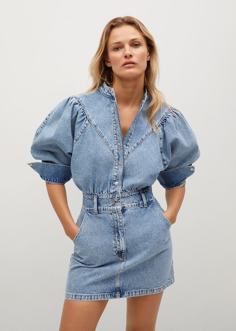 Mango Puffed Sleeves Denim Dress $79.99