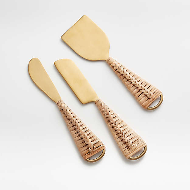 Crate & Barrel Rattan Cheese Knives, Set of 3 $24.95