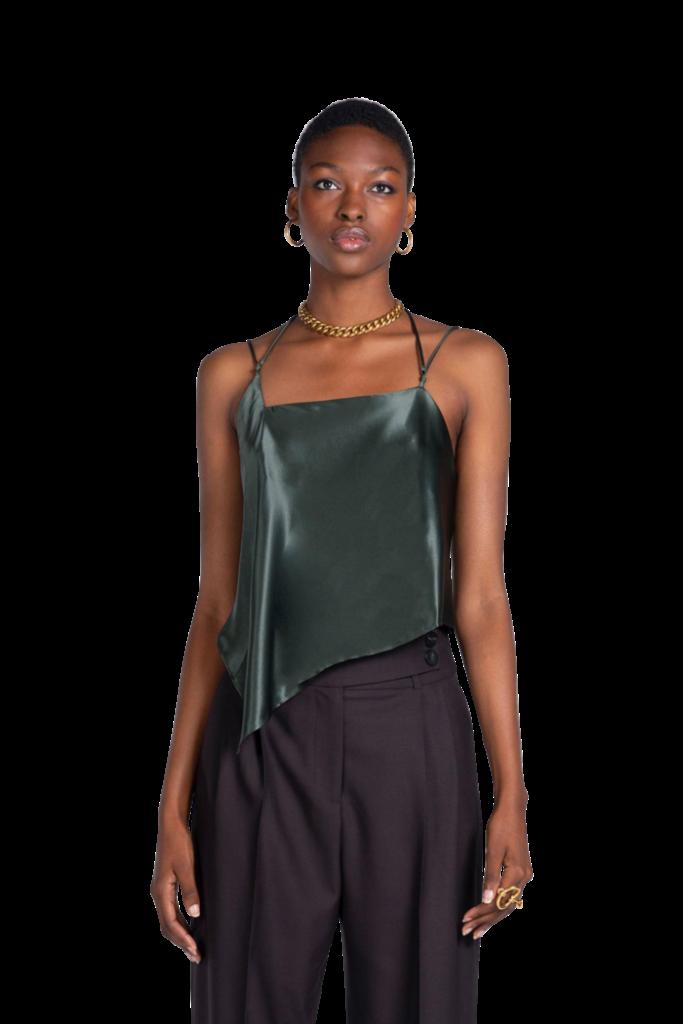 Attire The Studio Silk Satin Cami Deep Green $240.00