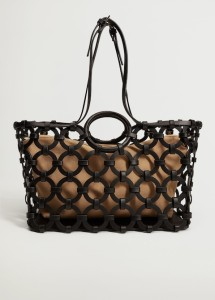 Mango Geometric Design Basket Bag $99.99