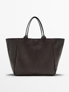 Massimo Dutti Faded-effect  Leather Tote Bag $399.00