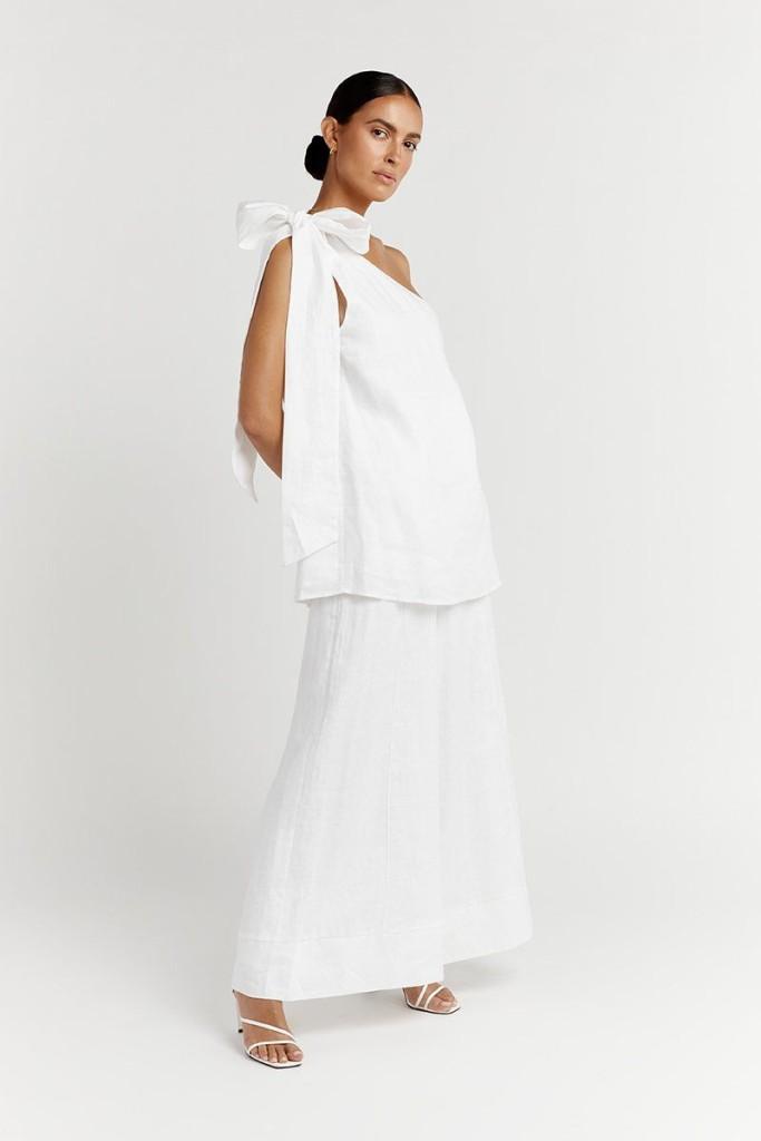 Dissh White Linen Shoulder Dress $95.00