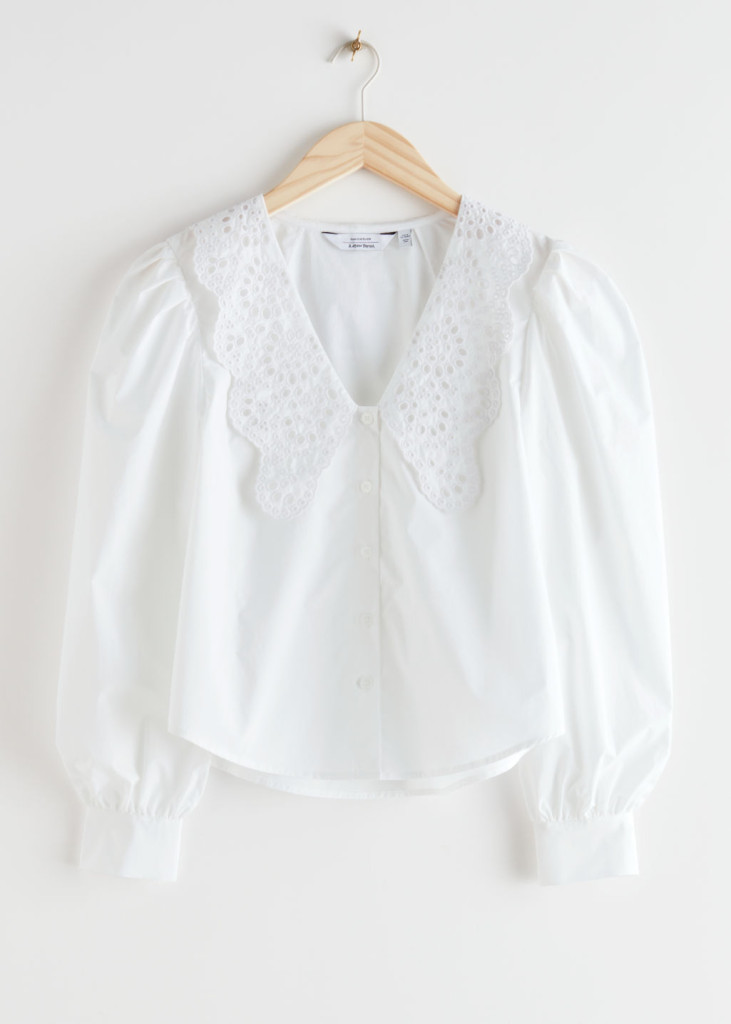 & other Stories Embroidered Collar Puff Sleeve Cotton Blouse $89.00
